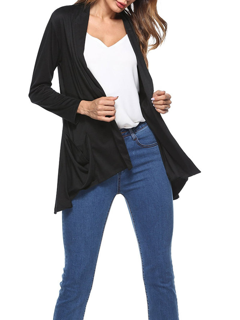 Casual Solid Pockets Cotton Cardigan