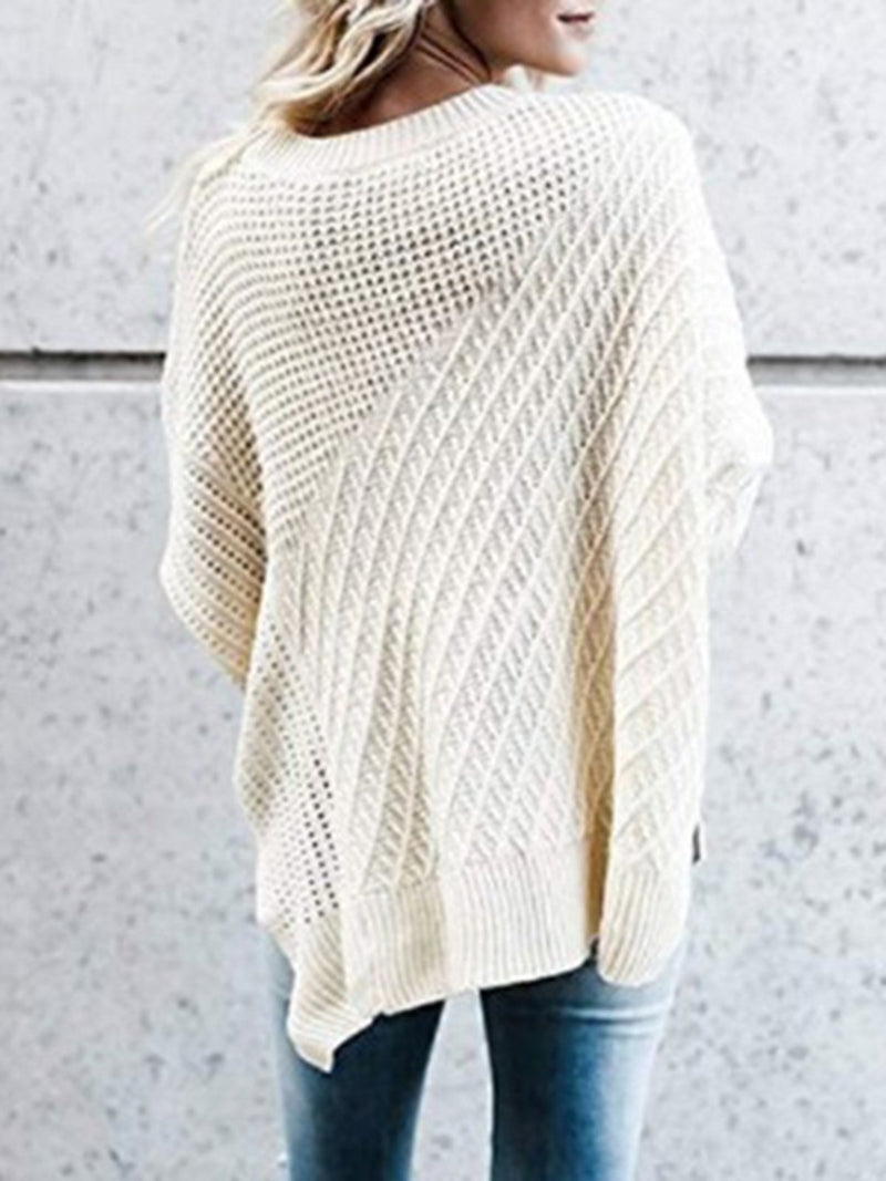 Casual Paneled Crew Neck Solid Sweater