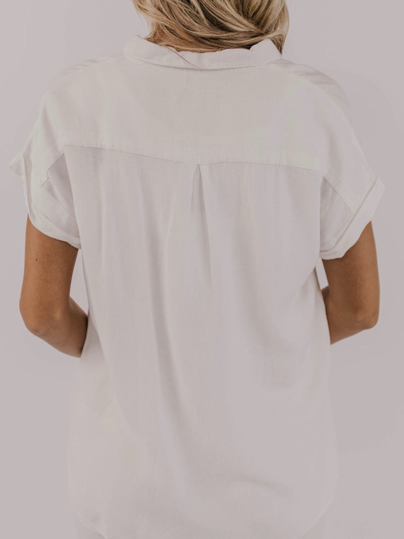 White Cotton Short Sleeve Solid Shirts & Tops