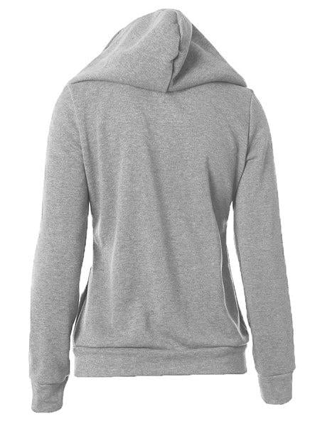 Casual Long Sleeve Zipper Solid Hoodie