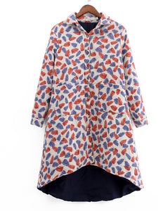 As Picture Casual Buttoned Floral Coat