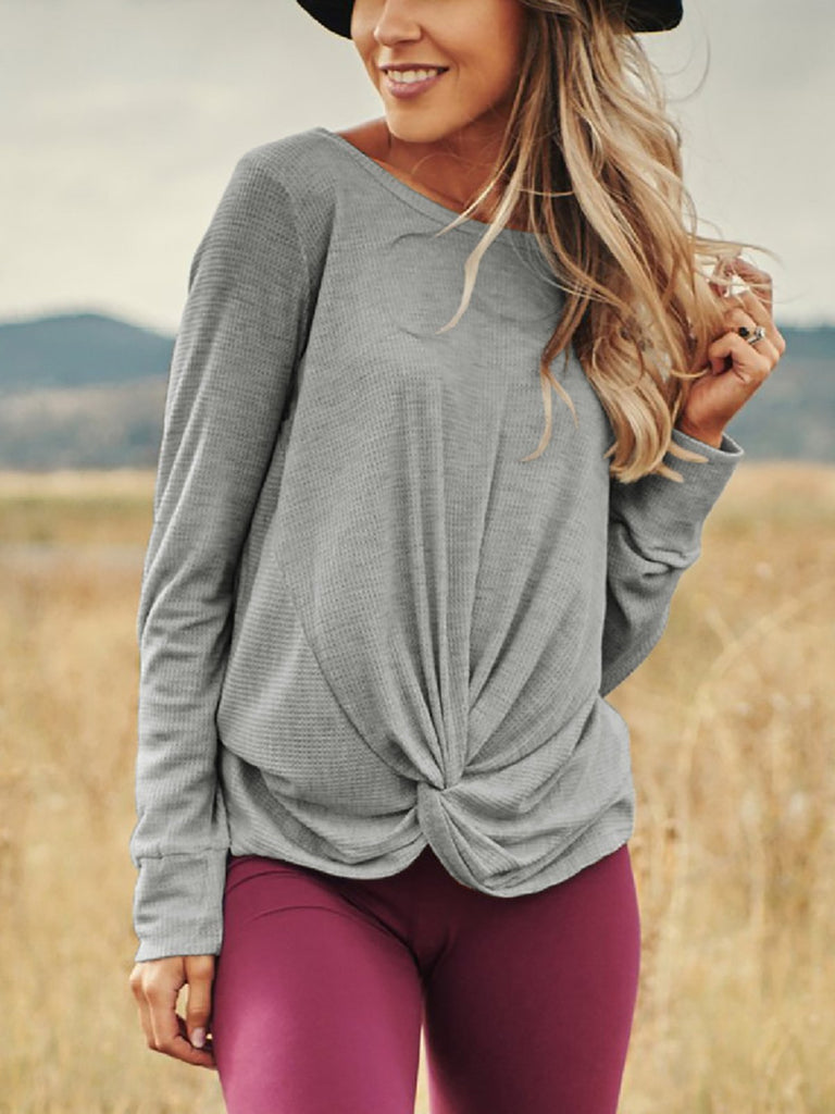 Asymmetrical Long Sleeve Casual Crew Neck Blouse