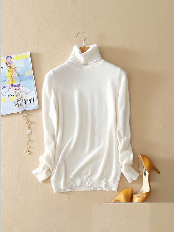 Casual Turtleneck Long Sleeve Stretchy Sweater
