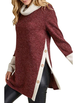 Cowl Neck Casual Patchwork Vented Long Sleeve Buttoned Sweater
