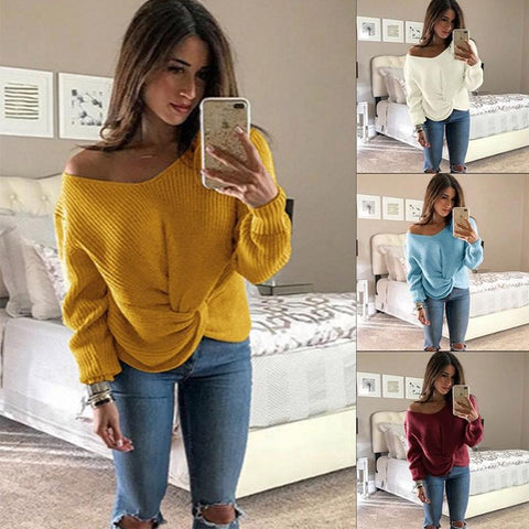 Casual Bow Knitted Long Sleeve V neck Slightly stretchy Sweater