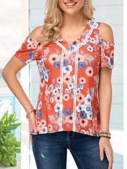As Picture V Neck Printed Short Sleeve Shirts & Tops