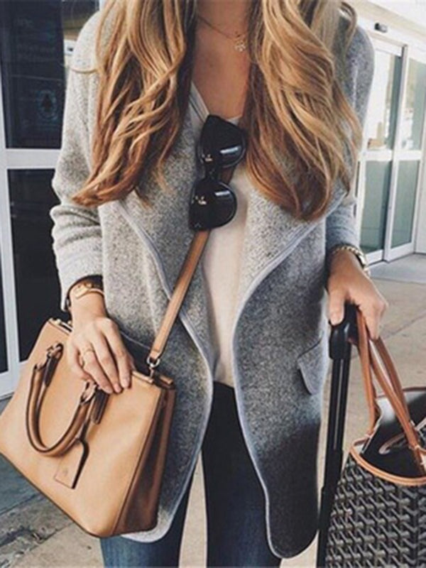 Casual Fold Over Collar Plain Long Sleeve Cardigans
