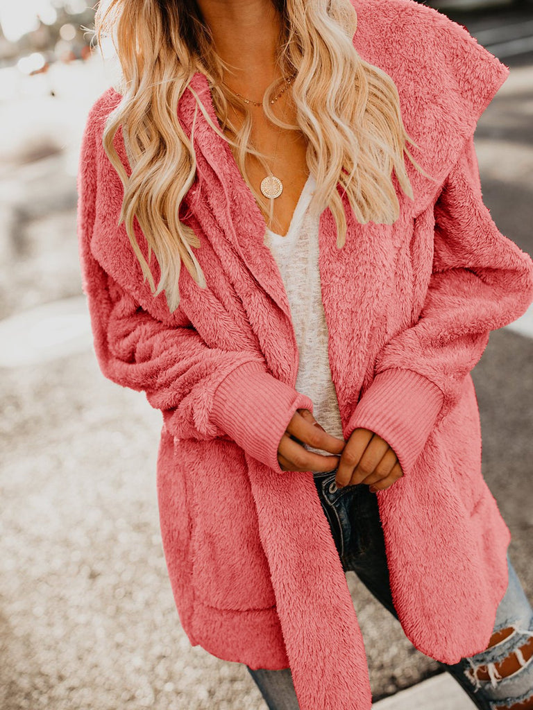 Casual Fluffy Solid Color Long Sleeve Hoodie