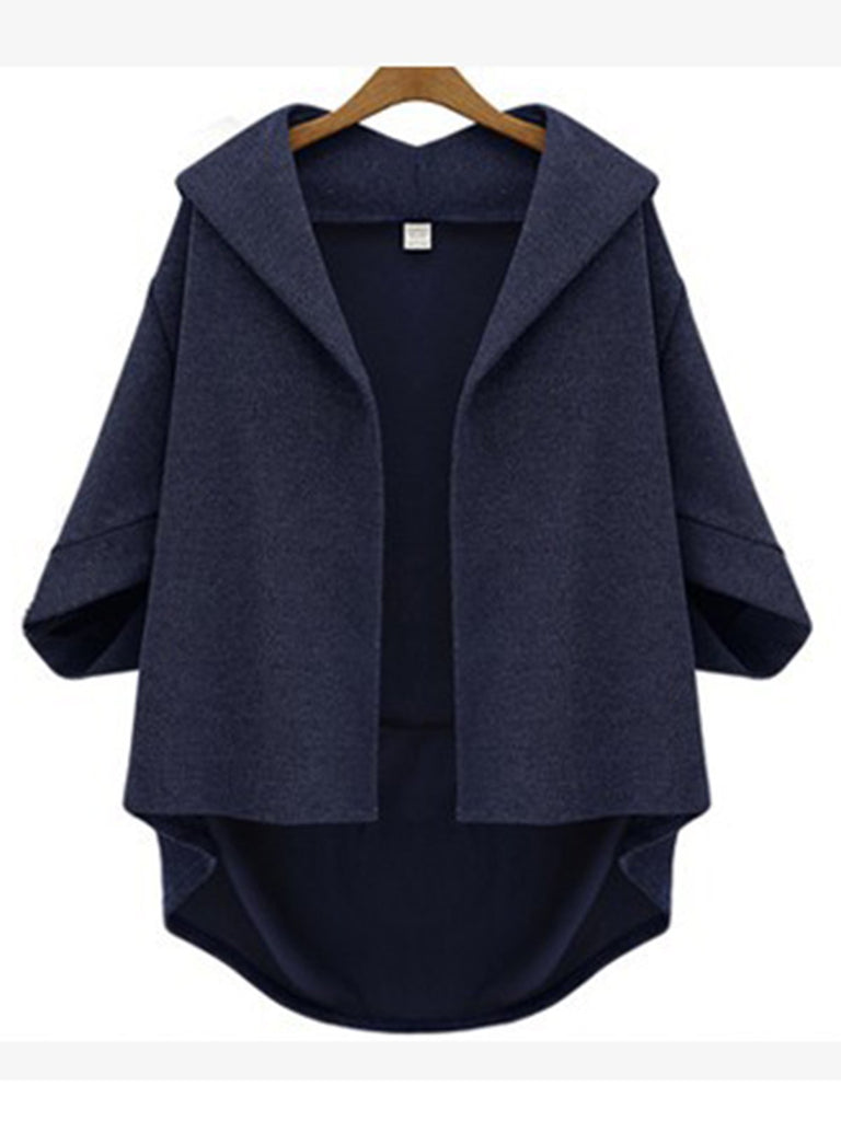 Annychloe Casual Asymmetric High-Low Solid 3/4 Sleeve Coat