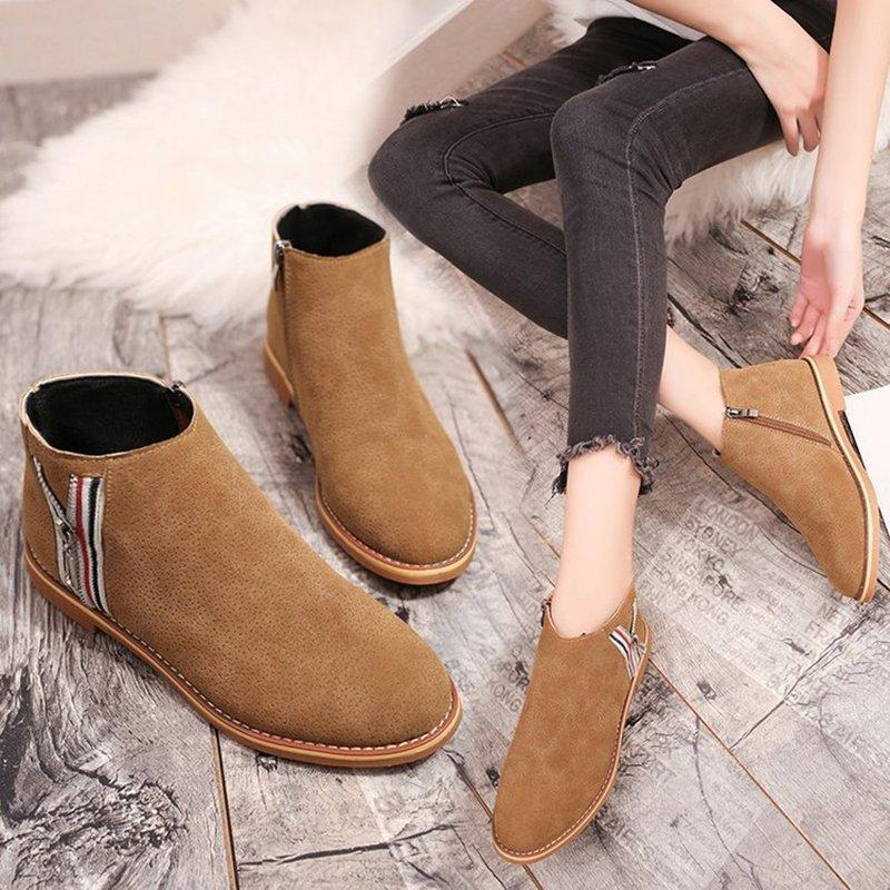 Ankle Comfy Zipper Flat Heel Round Toe Boots