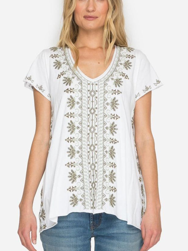 White Short Sleeve Cotton-Blend Shirts & Tops