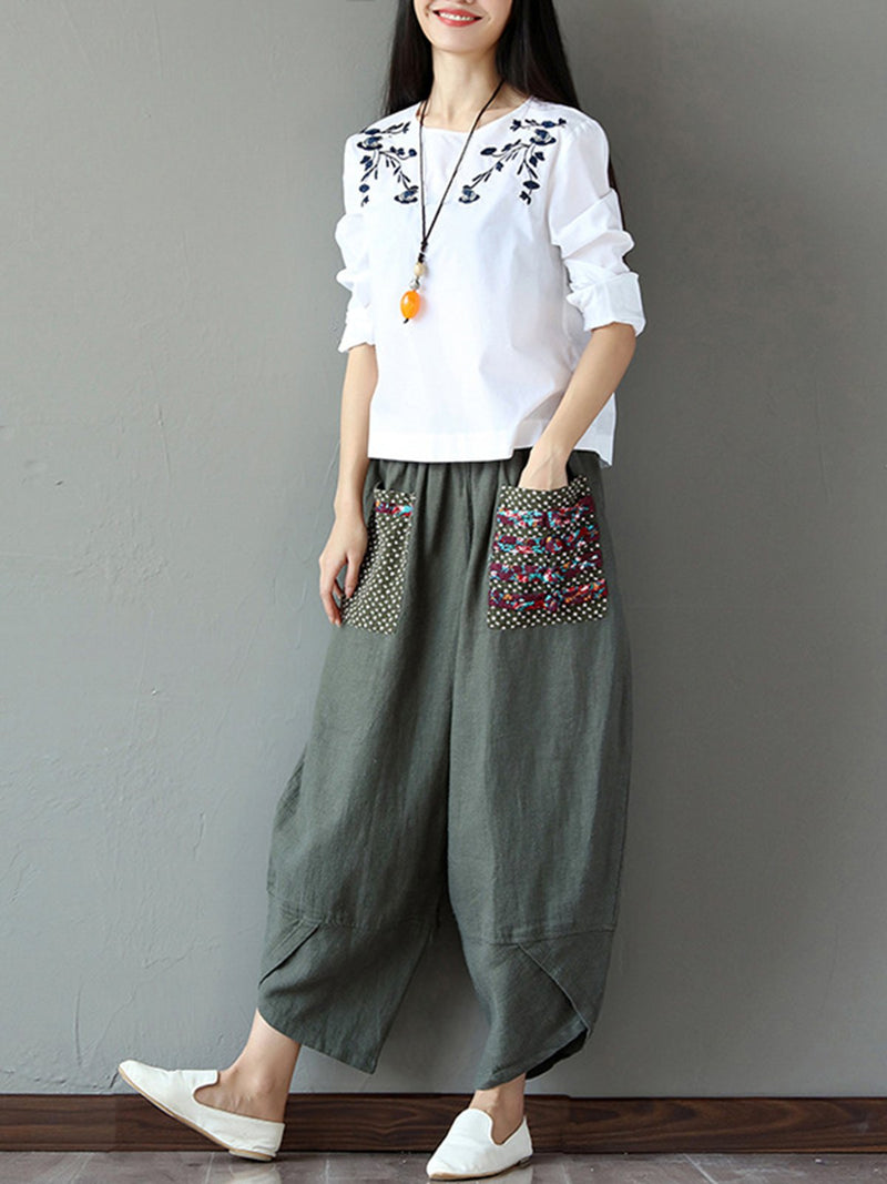 Army Green Cocoon Shirred Paneled Casual Pockets Pants