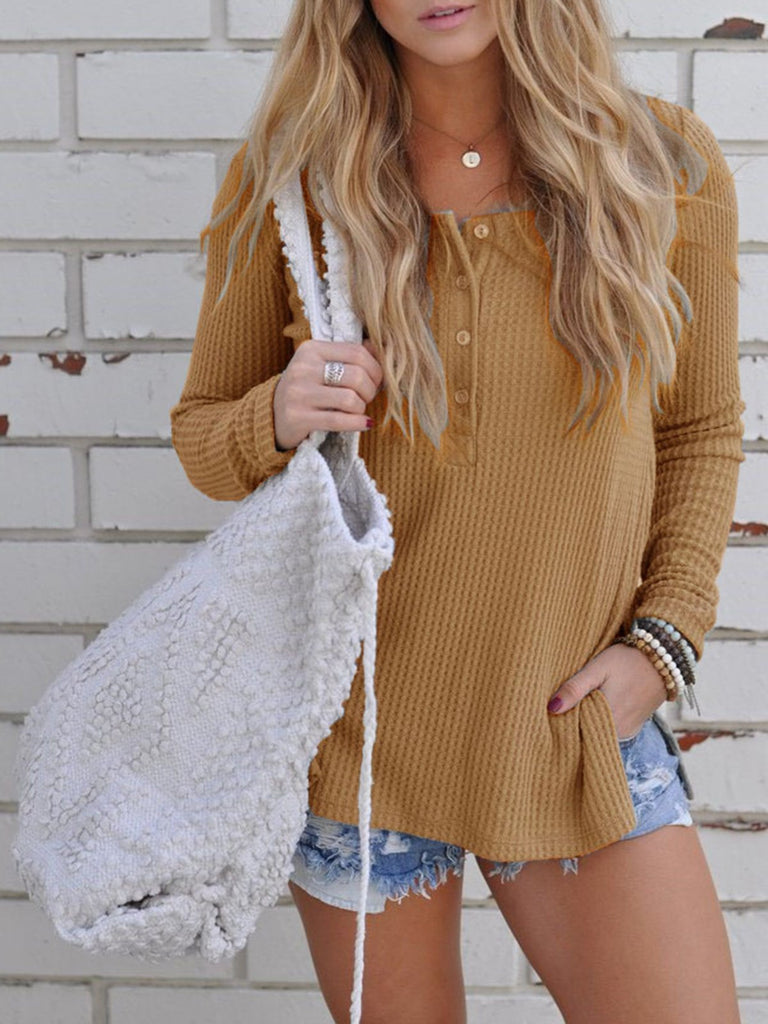 Buttoned Side Slit Knitted Long Sleeve Crew Neck Sweater