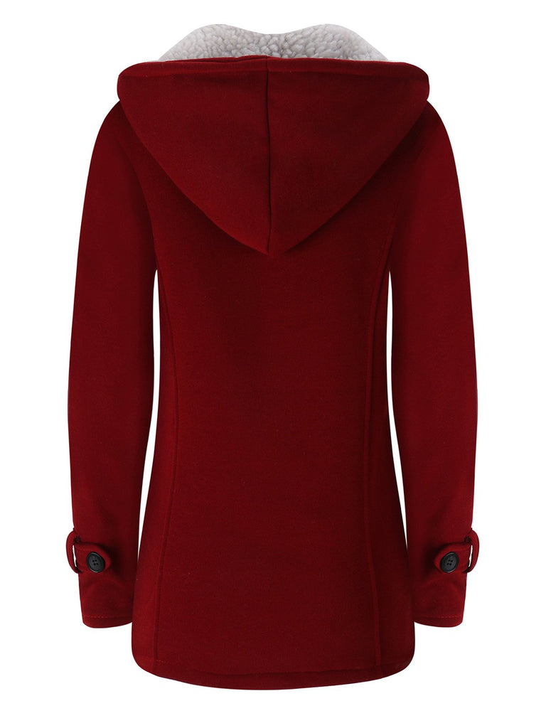 Women Horn Button Coton Fleece Hooded Duffle Coat