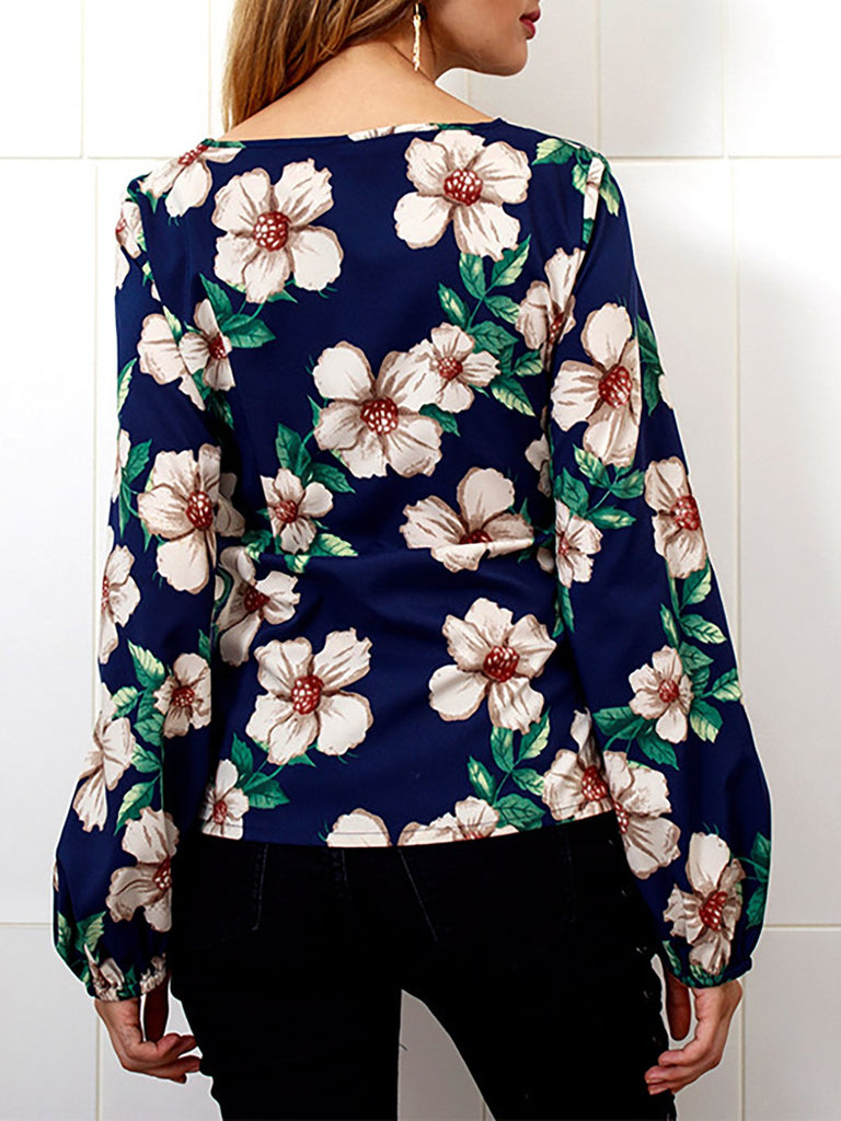 Balloon Sleeve Bow Floral Elegant Blouse