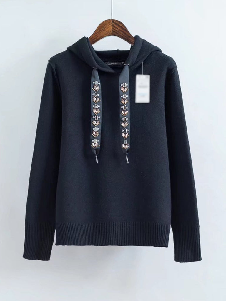 Casual Jewelry Short Hooded Long Sleeve Sweatshirt