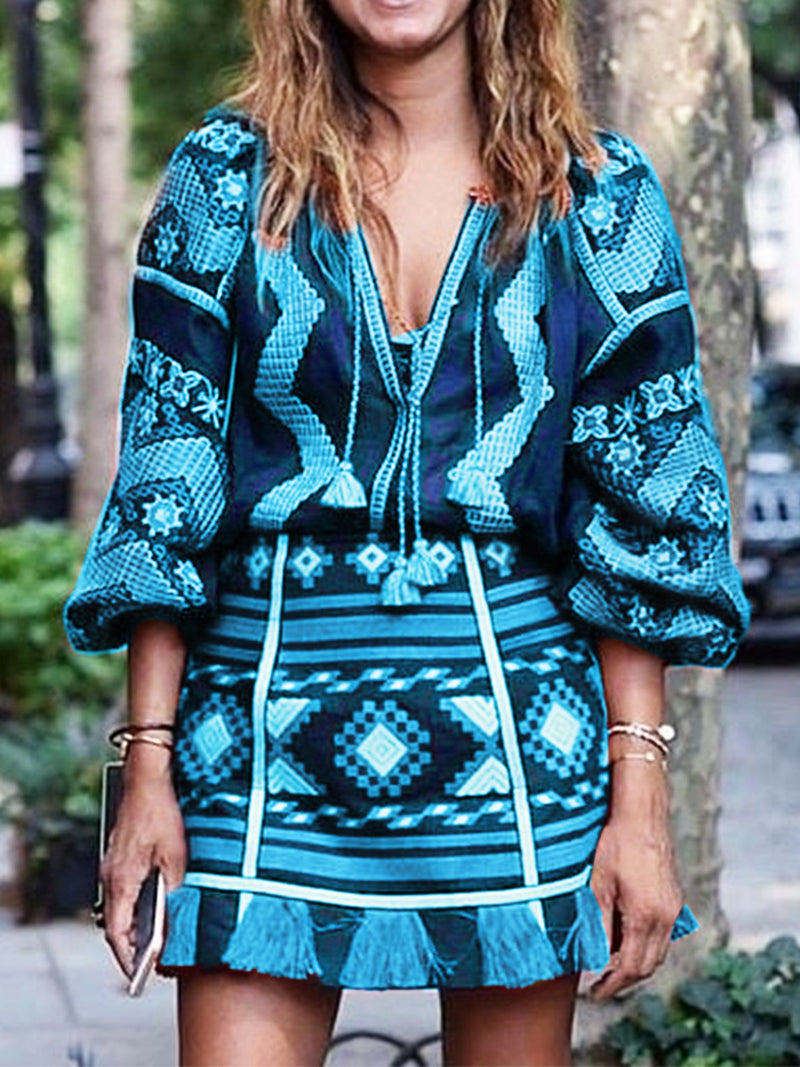 Vintage Women Geometric Print Long Sleeve Midi Dresses