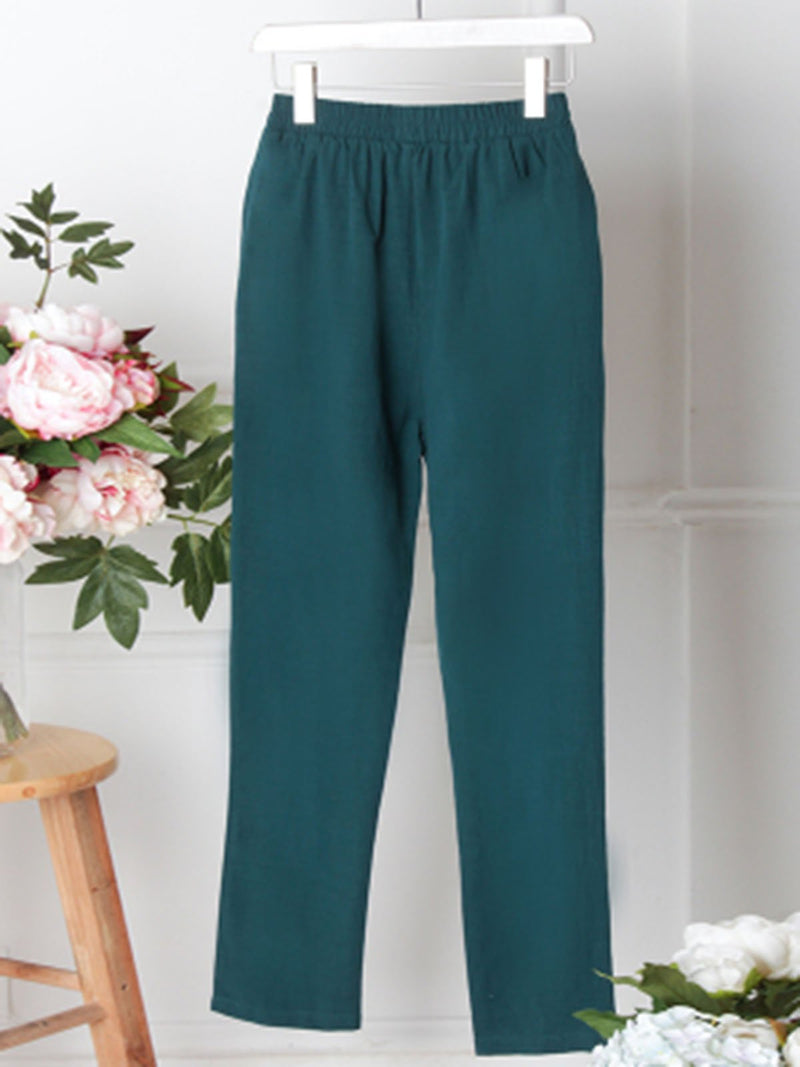 Casual Solid Pockets Linen Pants