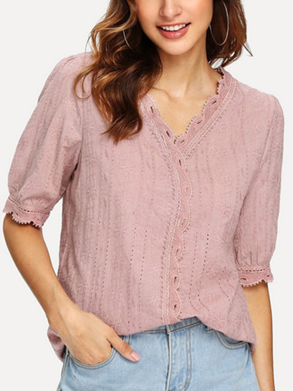 V Neck Half Sleeve Embroidered Shirts & Tops