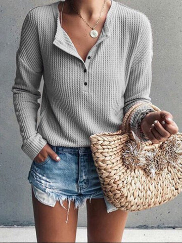 Casual Button Up Long Sleeve Knitted Sweater