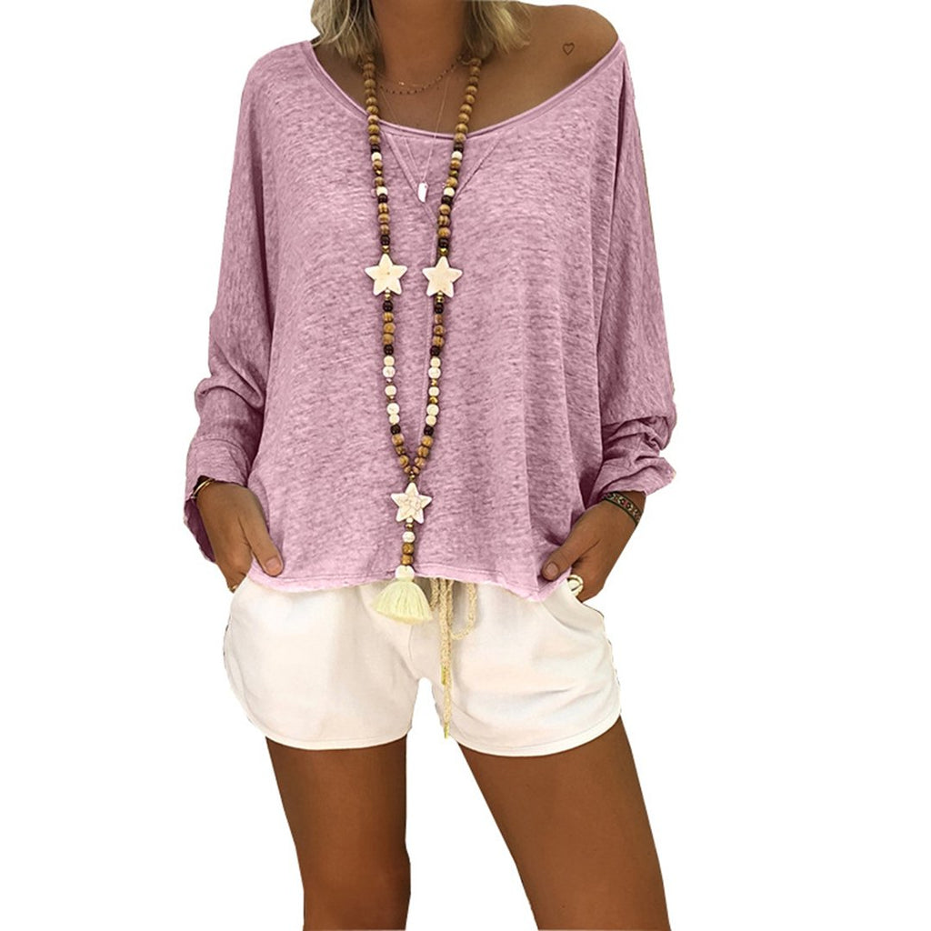 Crew Neck Batwing Sleeves Casual Shift Slightly Stretchy T-Shirt