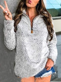 Casual Lapel Solid Warm Long Sleeve Hoodie