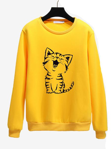 Casual Basic Cartoon Animal Long Sleeve Crew Neck Sweater