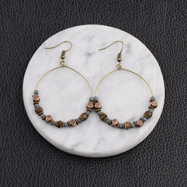 Coffee Alloy Vintage Boho Daily Earrings