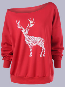 Christmas Long Sleeve One Shoulder Printed Sweatshirt