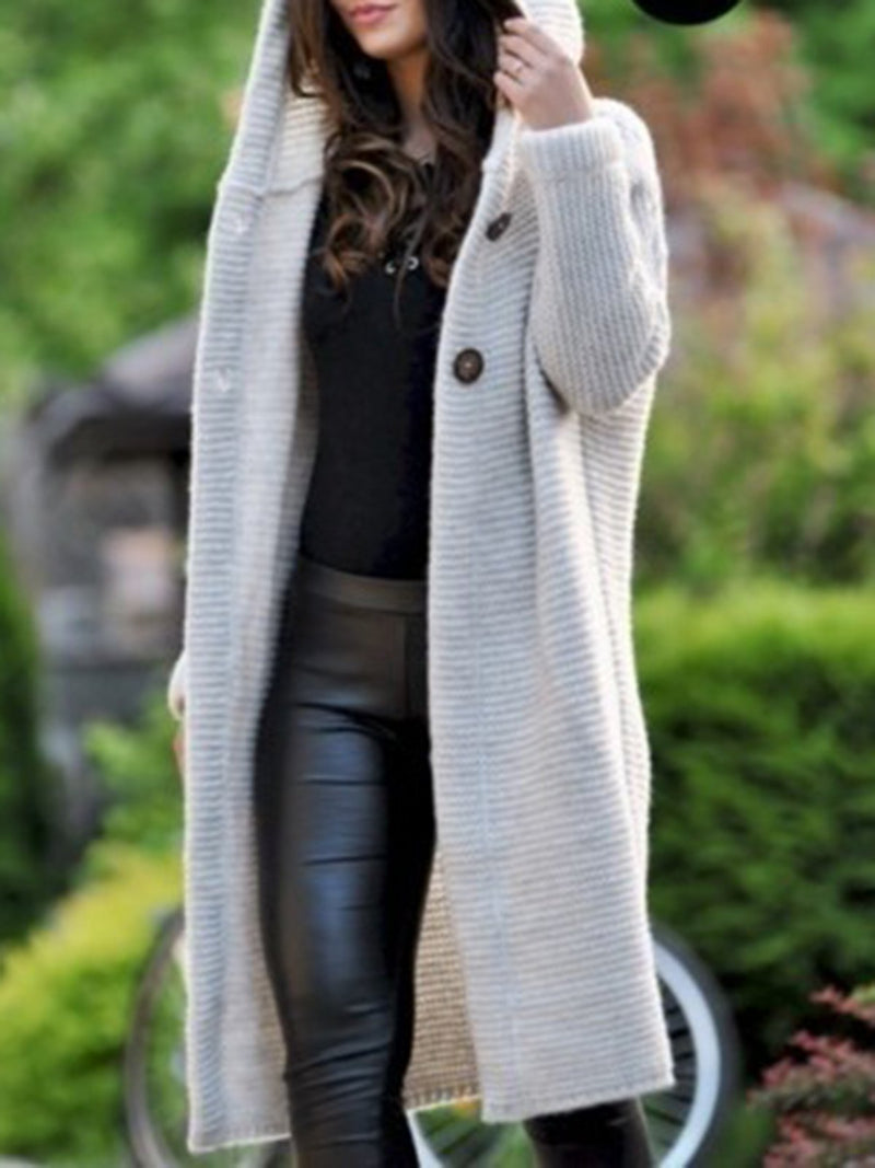 Casual Paneled Long Sleeve Hoodie Cardigan