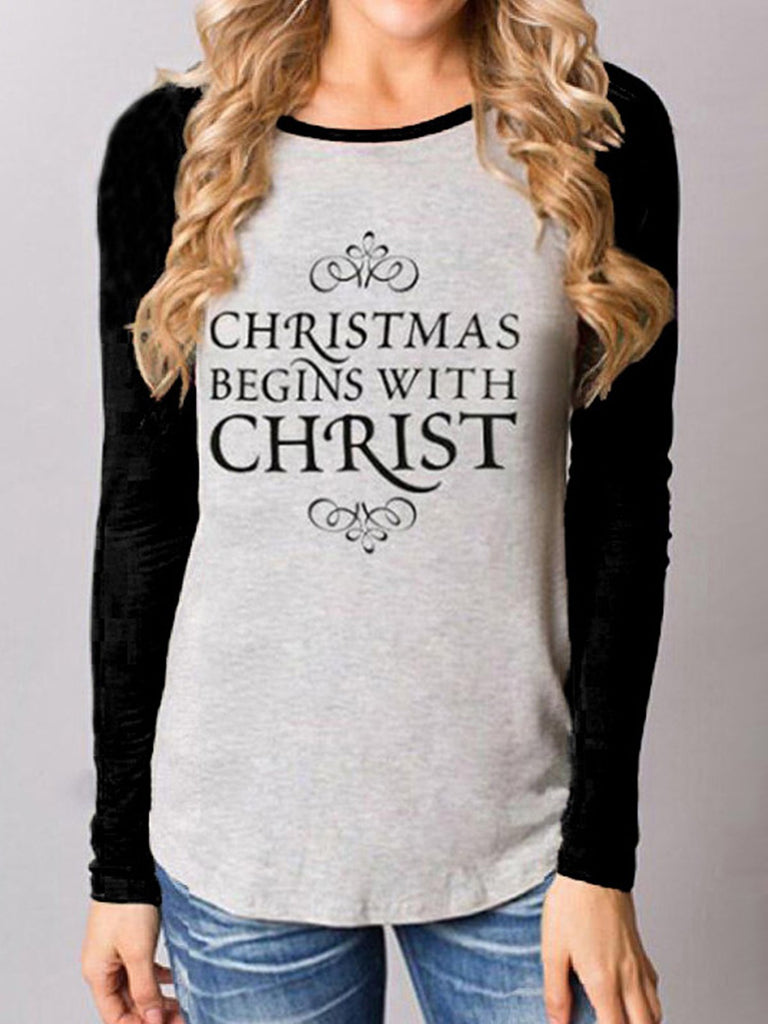 Christmas Long Sleeve Printed Cotton-Blend Sweatshirt