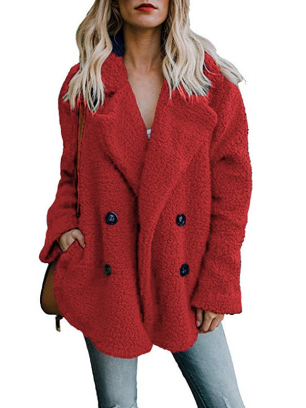 Fleece Fluffy Jacket Shawl Collar  Coat