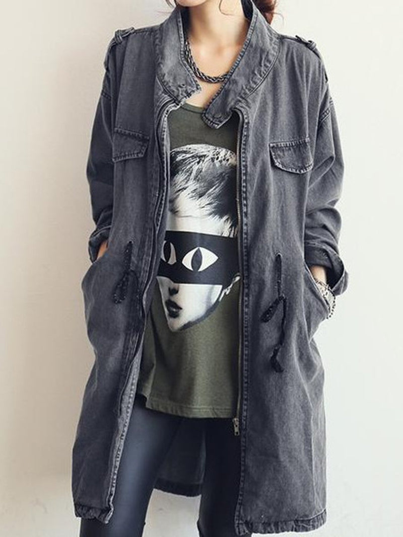 Casual Solid Long Sleeve Pockets Stand Collar Coat