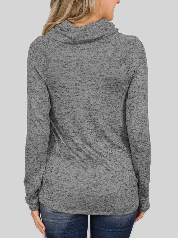 Casual Long Sleeve Turtleneck Solid Sweatshirt
