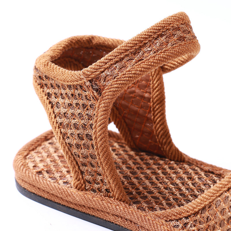 Brown Mesh Summer Sandals Ladies Vintage Slip On Sandals