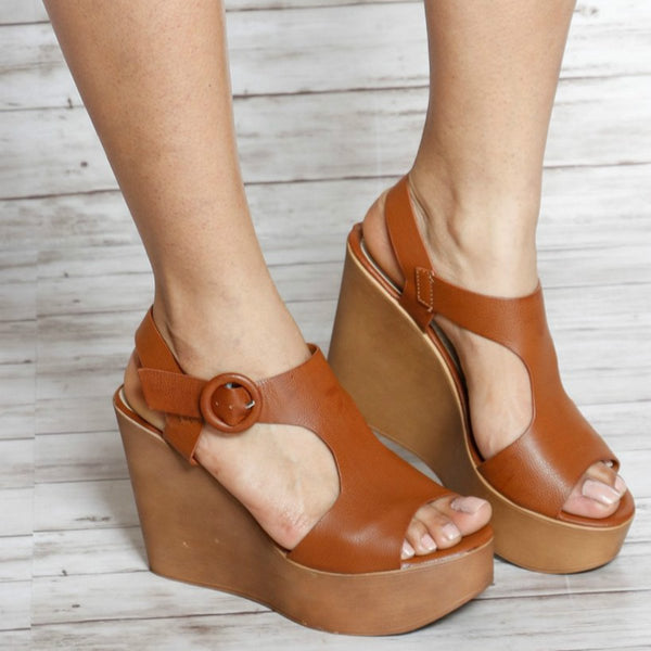 PU BOTTOM HIGH WEDGE SANDALS