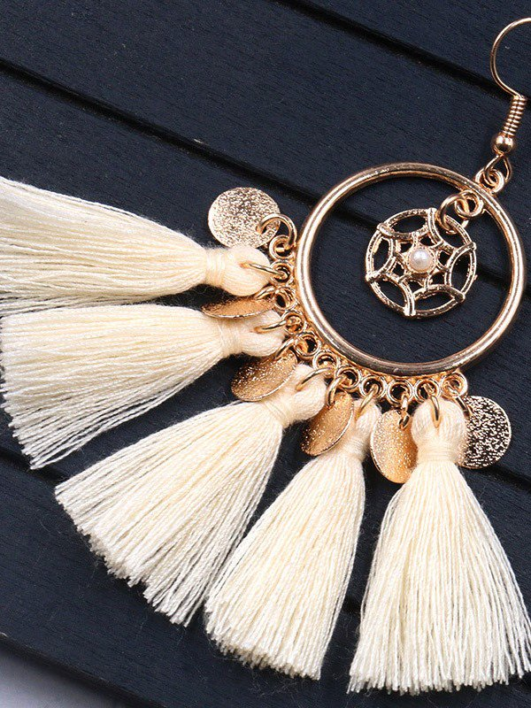 Beige Ring Fringed Vintage Women Earrings