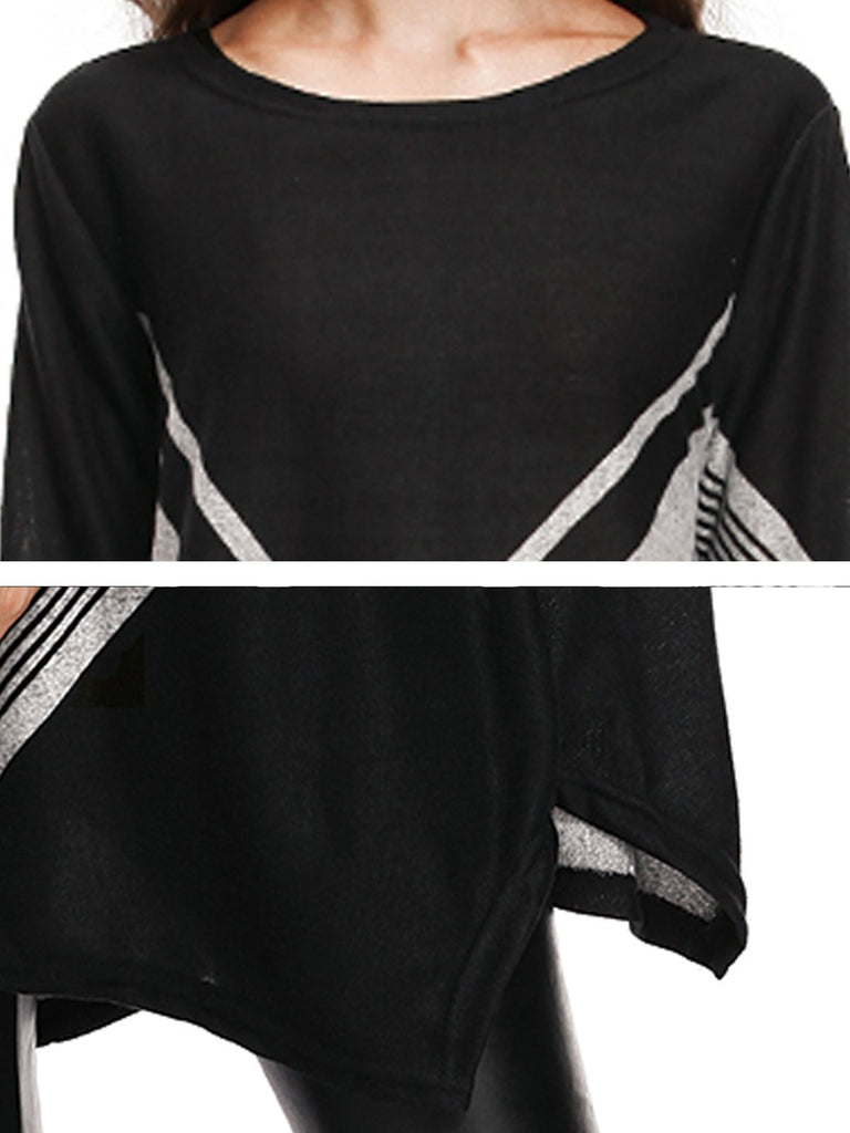 Black Polyester Shift Striped Casual Sweater