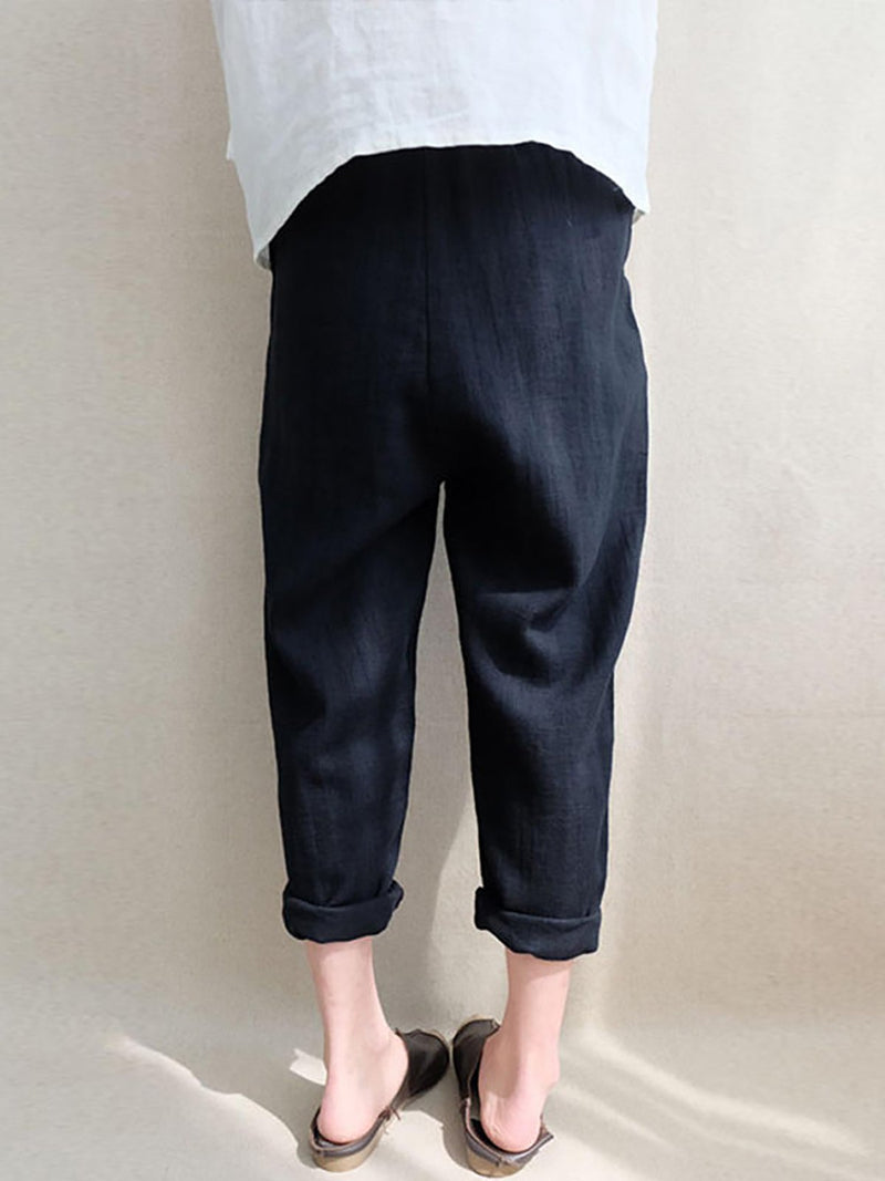All Season Casual Solid Pockets Pants