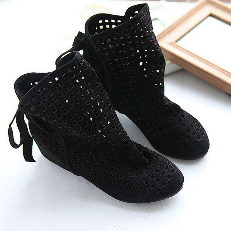 Breathable Hollow-out Wedge Heel Casual Boots