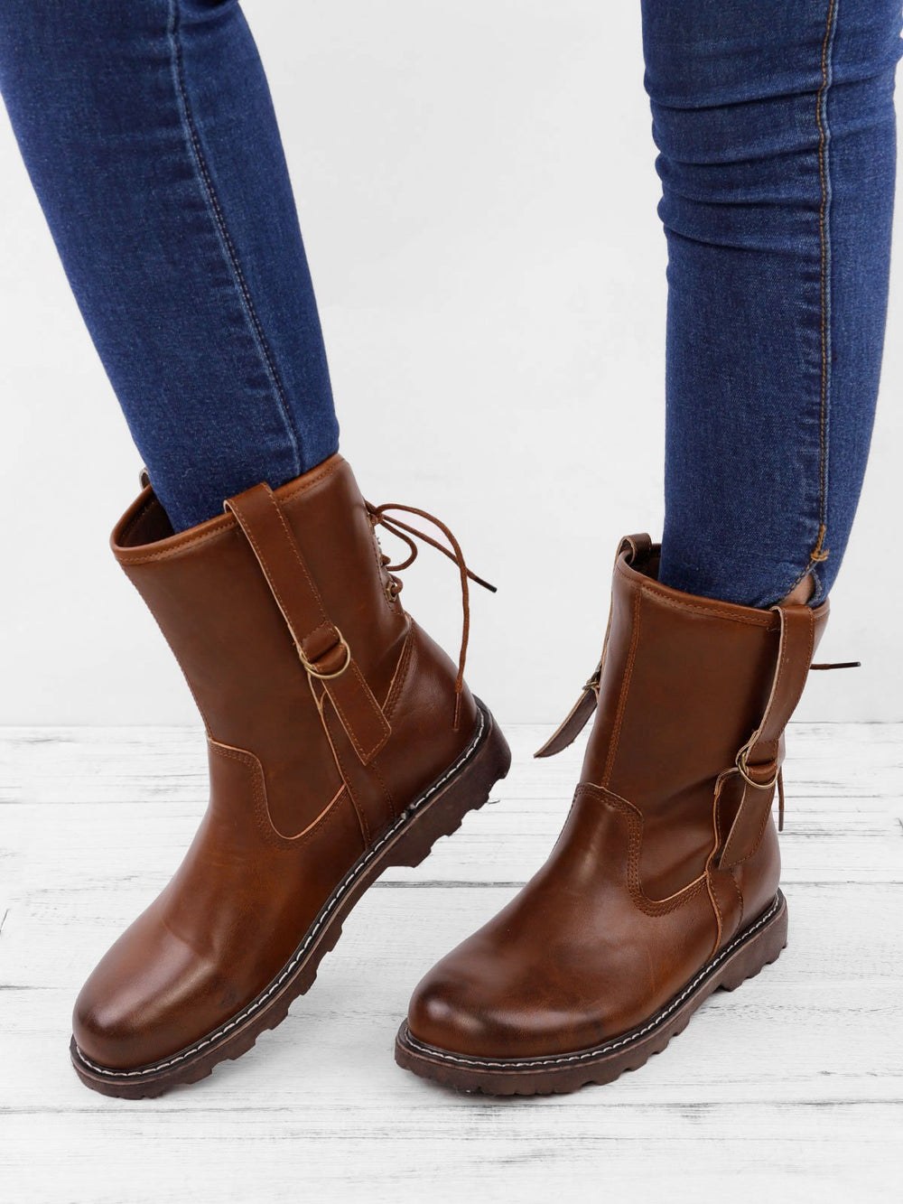 All Season Women Lace-up Martin Vintage Low Heel Boots