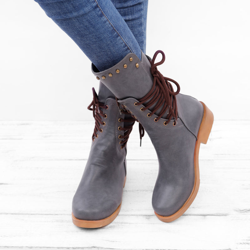 Back Zipper Vintage Lace-Up Holiday Mid-calf Boots