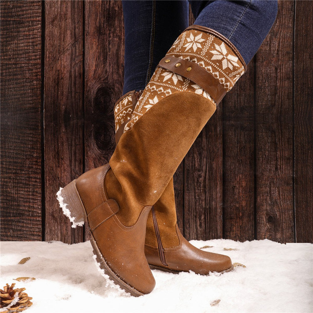 Women Kelsey Boots Zipper Knitted Fabric Rider Tall Artificial Leather Boots