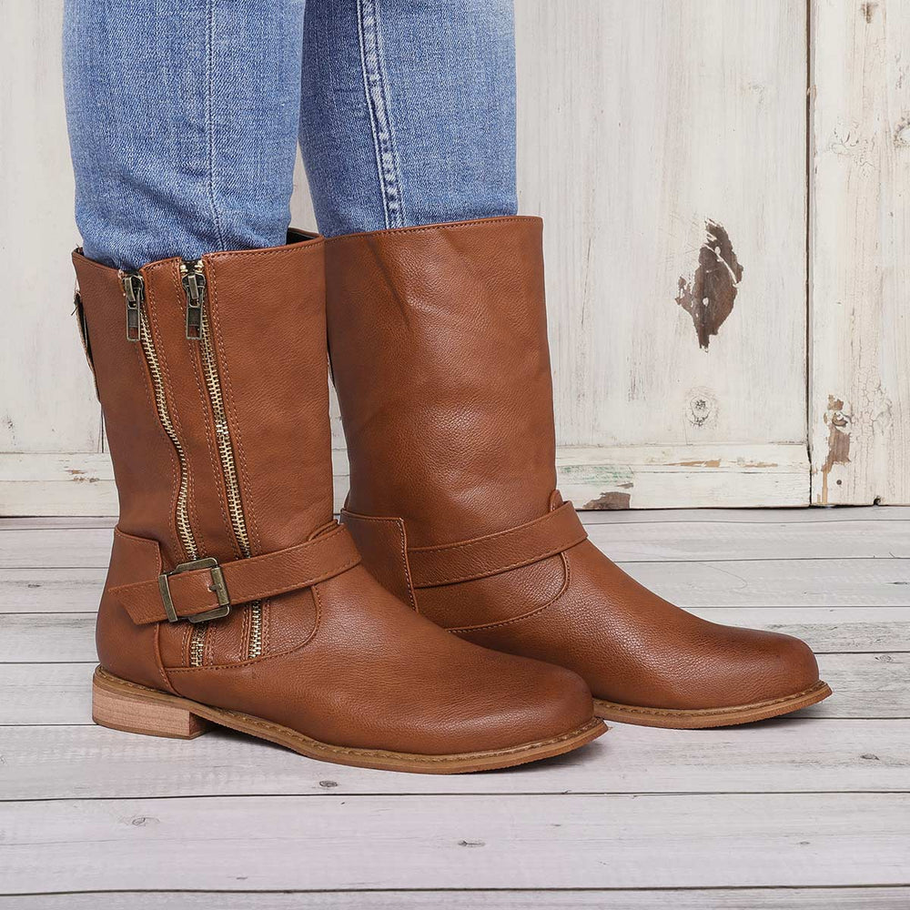 Women Vintage Mid Calf Zipper Boots Artificial Leather Casual Chic Boots With Buckle
