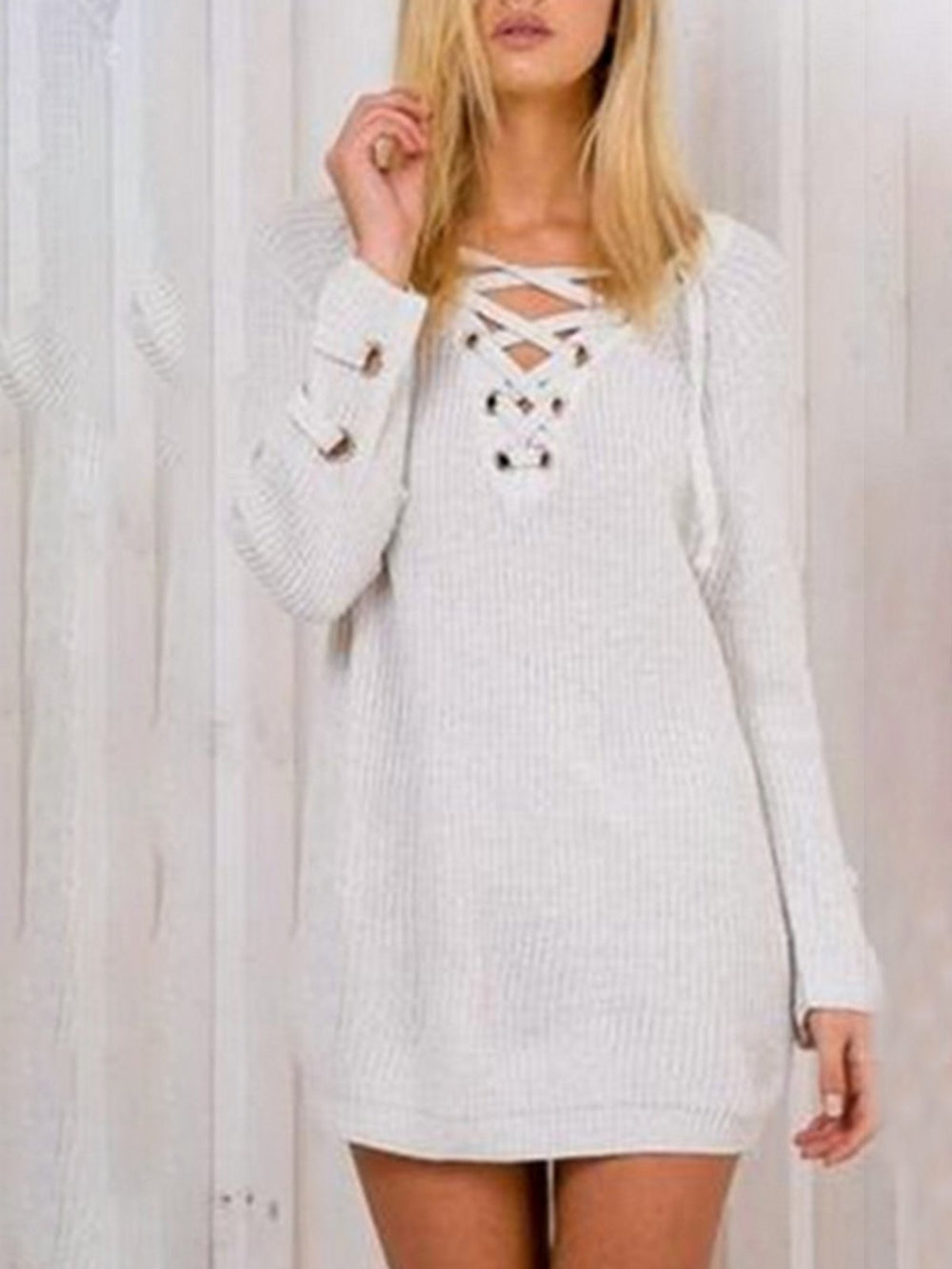Casual Long Sleeve Chic Tunic Solid Sweater