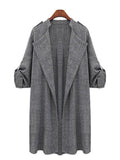 Buttoned Shawl Collar Casual Long Sleeve Coat