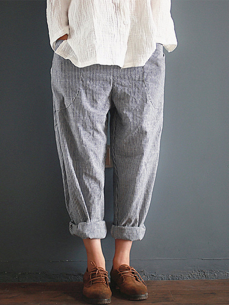 Casual Striped Pockets Cotton Linen Pants