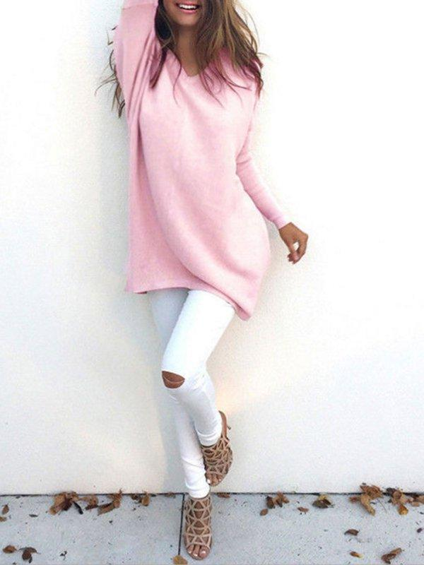 Casual V Neck Long Sleeve Sweater
