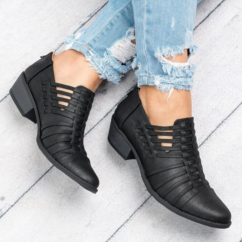 Women Plus Size Faux Leather Booties with Zipper Shoes