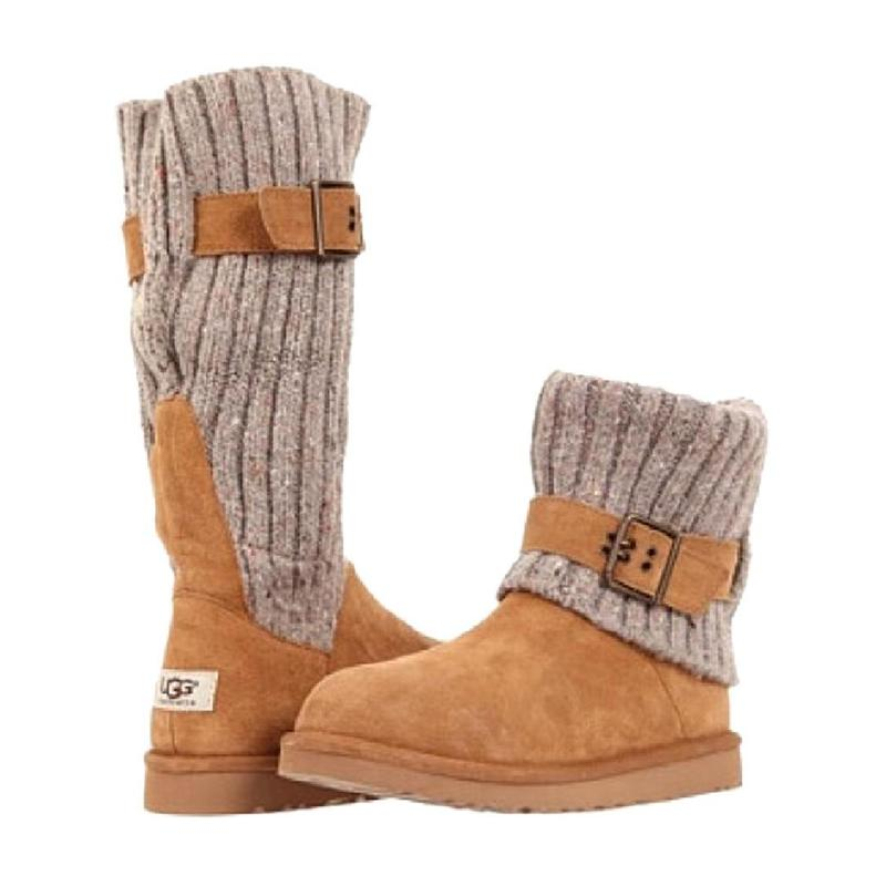 Adjustable Buckle Sock Fold Over Round Toe Low Heel Boots